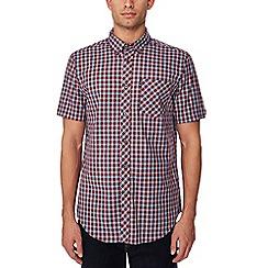 Ben Sherman - Maroon checked short sleeve regular fit shirt