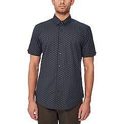 Ben Sherman - Navy floral print cotton short sleeve regular fit shirt