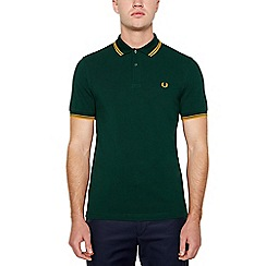 Fred Perry - Big and tall dark green tipped cotton polo shirt