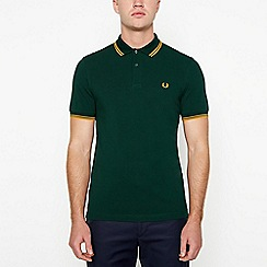 Fred Perry - Dark green tipped cotton polo shirt