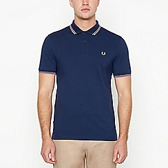 Fred Perry - Dark blue tipped cotton polo shirt