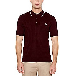 Fred Perry - Maroon Knitted Cotton Polo shirt