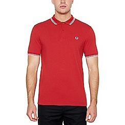 Fred Perry - Big and tall maroon tipped cotton polo shirt