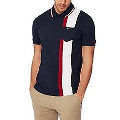 Ben Sherman - Navy stripe panel cotton polo shirt