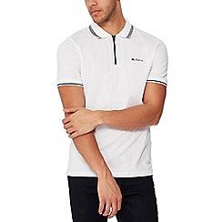Ben Sherman - White tipped zip neck polo shirt