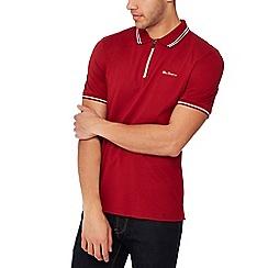 Ben Sherman - Red tipped zip neck polo shirt