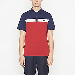 Fred Perry - Red Contrast Panel Cotton Polo Shirt