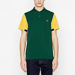 Fred Perry - Green Colour Block Cotton Polo Shirt