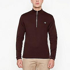 Fred Perry - Wine red zip neck sweater