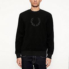 Fred Perry - Black embroidered logo fleece sweatshirt