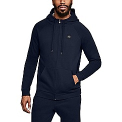 Under Armour - Dark Blue Cotton Blend 'Rival' Fleece Hooded Warm Up Top