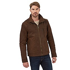 Barneys - Big and tall brown leather harrington jacket