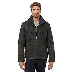Barneys - Dark grey mock 2-in-1 Harrington hybrid leather jacket