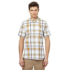 Fred Perry - Orange checked short sleeved shirt
