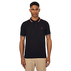 Fred Perry - Navy tipped logo embroidered polo shirt