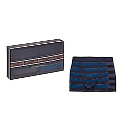 J by Jasper Conran - Pack of two blue stripe hipster trunks in a gift box