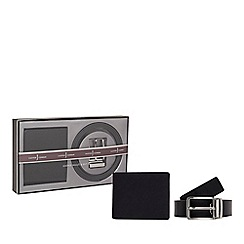 J by Jasper Conran - Black leather wallet and belt set in a gift box