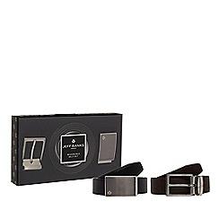 Jeff Banks - Black reversible leather belt set