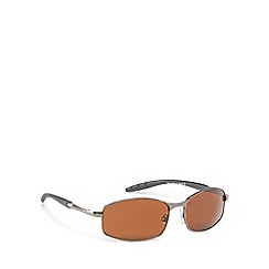 The Collection - Brown metal rectangle sunglasses