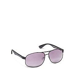The Collection - Black metal rectangular sunglasses