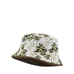 Mantaray - Dark olive reversible palm print bucket hat