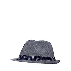 The Collection - Navy linen blend trilby hat