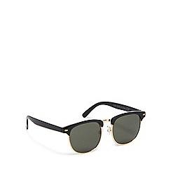 The Collection - Black plastic retro frame square sunglasses