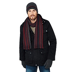 Debenhams - Grey striped hat, scarf and gloves set in a gift box