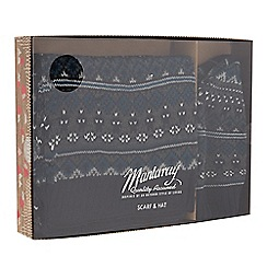 Mantaray - Navy Fair Isle patterned hat and scarf set in a gift box
