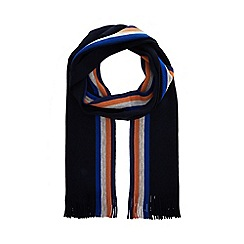 J by Jasper Conran - Navy striped Merino wool scarf in a gift box