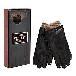 Hammond & Co. by Patrick Grant - Black touch screen leather gloves in a gift box