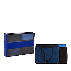 J by Jasper Conran - 2 pack black plain and patterned keyhole trunks in a gift box