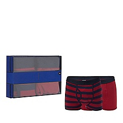 J by Jasper Conran - 2 pack red plain and striped keyhole trunks in a gift box