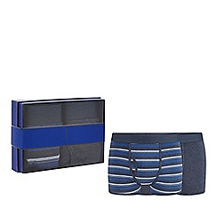 J by Jasper Conran - 2 pack blue plain and striped keyhole trunks in a gift box
