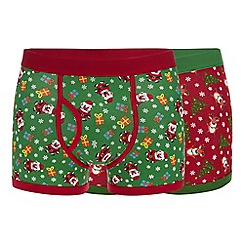 Debenhams - 2 pack red 'santa' and reindeer print keyhole trunks