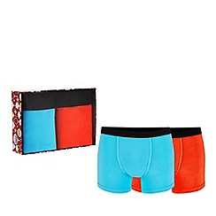 Debenhams - 2 pack blue and orange hipster trunks in a gift box