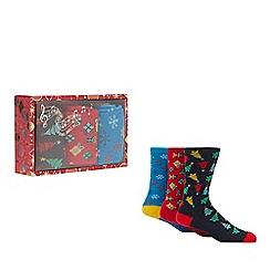 Red Herring - 3 pack multicoloured Christmas print socks
