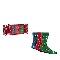 Debenhams - 3 pack assorted Christmas print socks in a gift box