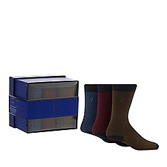 J by Jasper Conran - 3 pack assorted striped socks