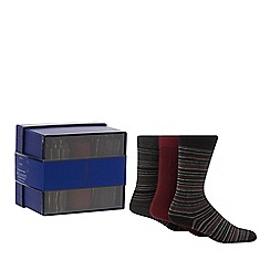 J by Jasper Conran - 3 pack grey and red plain and striped socks in a gift box