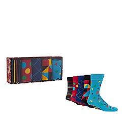 Debenhams - 5 pack multi-coloured printed socks in a gift box