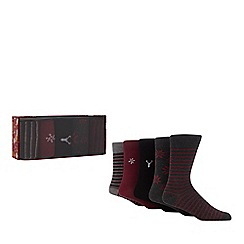 Debenhams - 5 pack grey festive print socks in a gift box