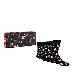 Debenhams - 5 pack black festive print socks in a gift box