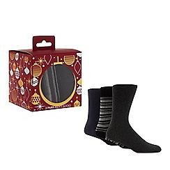 Debenhams - 3 pack black and grey socks in a gift box