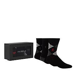 Pringle - 3 pack black plain and argyle socks in a gift box