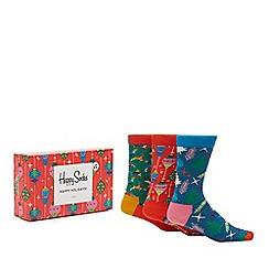 Happy Socks - 3 pack multicoloured retro Christmas socks in a gift box
