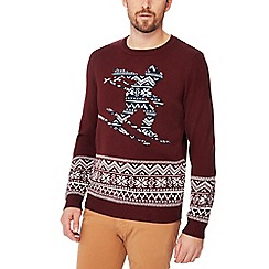 Red Herring - Wine red Fair Isle knit Christmas jumper