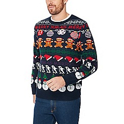 Red Herring - Navy novelty rows knit Christmas jumper