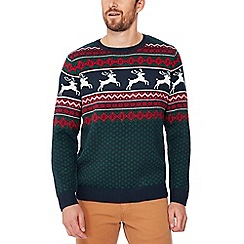 Red Herring - Green stag knit Christmas jumper