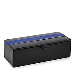 J by Jasper Conran - Black faux leather watch box with a coin tray